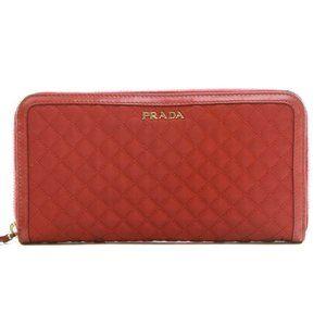 Prada Tessuto Red Ibisco Quilted Nylon Leather Con
